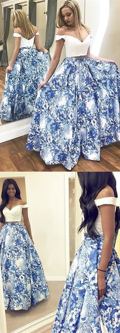 two piece blue floral long prom dresses,elegant off the shoulder a line white graduation party gowns for teens