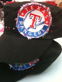 black cadet hat with Texas Rangers patch by emeraldlanegifts, $25.00
