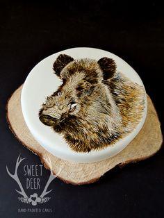 Hand-painted cake- Wild boar  By Sweet Deer - Handpainted cakes