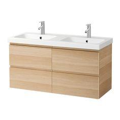 GODMORGON / ODENSVIK Kast voor wastafel met 4 lades - wit gelazuurd eikeneffect - IKEA