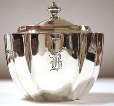 Tiffany Tea Caddy Made in Sheffield, England by Wm Hutton Sons, 1912 Royal Copenhagen, Vintage Silver, Antique Silver, Vintage Tea, Silver Teapot, Silver Plate, Kitsch, Tea Tins, Tea Caddy
