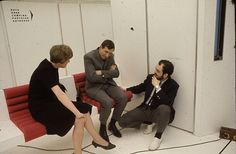 Stanley Kubrick, Leonard Rossiter and Margaret Tyzack on the set of 2001: A Space Oddyssey