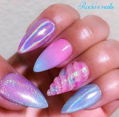 Pink lilac unicorn nails