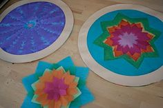 Kid's Craft: Cut Tissue Paper Stained Glass Circles
