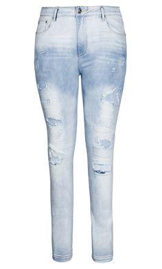 City Chic - PATCH WORK SKINNY JEAN - Women's Plus Size Fashion