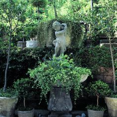 A fountain without water: Water used to spill from the conch shell on this cherub's shoulders, splashing into the giant clamshell beneath his feet.  But when Bill Anderson inherited the fountain and moved it to his home in Newport Beach, he and his wife, Dana, decided against the expense of added plumbing. Instead Dana planted a cascade.  The main spiller is white-flowered bacopa. The froth under the cherub's toes is campanula and Alpine strawberries.