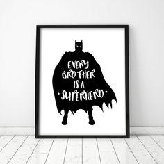 Spiderman Art, Batman Art, Superhero Bathroom, Superhero Superhero, Batman Quotes, Printable Art, Printables, Kids Room Art, Kid Spaces