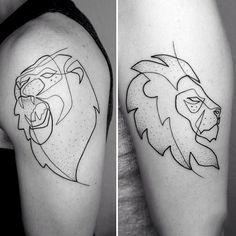 Lion Guys Tattoo Fine Line On Upper Arm