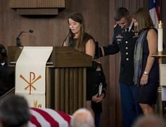 Amelia Greene delivers a eulogy for her father, U.S. Army Maj. Gen. Harold J. Greene, during a military funeral in his honor at Joint Base Myer-Henderson Hall's Memorial Chapel in Arlington, Va., Aug. 14, 2014.  Greene is the highest-ranking service member killed in the wars in Iraq and Afghanistan.  (U.S. Army photo by Staff Sgt. Bernardo Fuller)