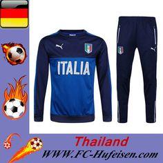Schönsten Die Neuen Trainingsanzüge Fussball Herren Kits Italien Blau/Schwarz Saison 2016 2017 Selbst Gestalten Online