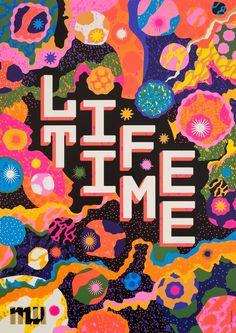 Mexican Graphic Design, Graphic Design Typography, Graphic Design Illustration, Illustration Art, Typography Poster, Lettering Design, Fluorescent Colors, Design Poster, Postcard Design