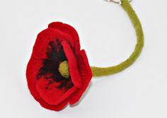 Key Chain red poppy flower pendant for keys felt trailers by mafiz, €9.00