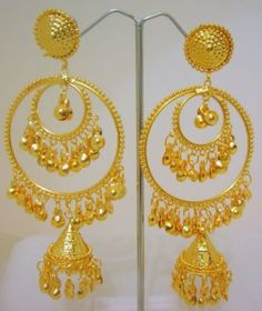 Nested Hoop Jhumka Jhumki Gold Plated Indian Chandelier Earrings