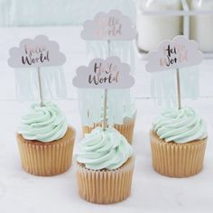 Rose Gold & Cloud Baby Shower Cupcake Toppers - Hello World  - Ginger Ray
