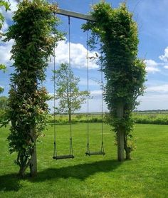 Great Garden Swing Ideas To Ensure A Gregarious Time For All - Bored Art - Swing Lemay De Groof / Magic Garden ♥ - Magic Garden, Dream Garden, Home And Garden, Garden Kids, Big Garden, Kids Play Area, Childrens Play Area Garden, Clematis, Outdoor Projects