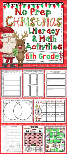 Christmas Activities: 5th Grade Literacy and Math (No Prep) - Keep your students engaged and motivated in the month of December with these no prep reading, writing, and math Christmas activities. You can relax and enjoy the holidays with your students while having standards based fun!! Also available for 3rd grade and 4th grade. $