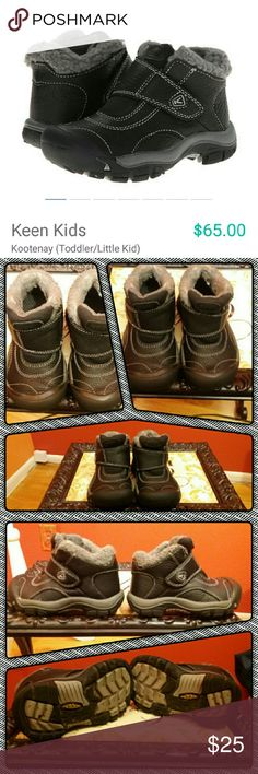 Keen Kids Kootenay Boots Size 9 Black/Grey Waterproof boots for preschool age boy Size 9 ?Runs true to size  Good used condition Only flaw noted is shown in last photo where the fabric isn't as plush as it once was Both were sprayed with Frye weather protection  Perfect for those light snowy days and cold weather & rain Keeps feet warm and dry Paid $65 on Zappos #keenkids #keen #keenkidsboots #boysboots #boysshoes #boysshoessize9 #toddlerboy #toddlerboyshoes #toddlerboyboots9 Keen Shoes Rain…