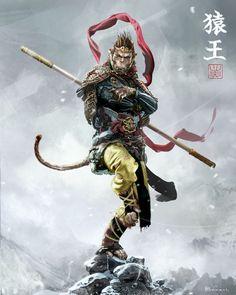 Fantasy Character Design, Character Concept, Character Art, Monkey Art, Monkey King, Mythological Creatures, Fantasy Creatures, Rpg Cyberpunk, Monkey Tattoos