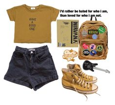 """""""Nirvana"""" by perfectjackbgg ❤ liked on Polyvore featuring agnès b., American Apparel, Converse, JanSport, ELSE, Penguin, Tuesday Bassen, INDIE HAIR and Patch Ya Later"""