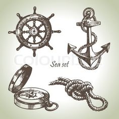 Sea set of nautical design elements Hand drawn illustrations stock vector