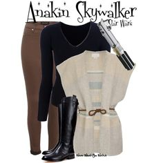 Star Wars by wearwhatyouwatch on Polyvore featuring Joseph, M.Patmos, River Island, KORS Michael Kors, skinny jeans, wrap cardigans, riding boots, skinny belts, hayden christensen and v necks