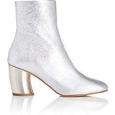 Proenza Schouler Women's Curved-Heel Metallic Leather Ankle Boots ($885) ❤ liked on Polyvore featuring shoes, boots, ankle booties, ankle boot, silver, leather boots, metallic booties, block heel bootie, high heel boots and leather booties