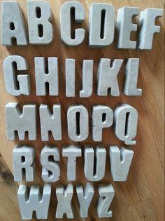 Concrete letters cement 3d alphabet