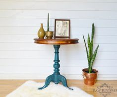 rustic wooden carved teal distressed table. furniture redo. furniture diy I really like the teal and natural wood color combo