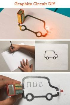 Can you complete an LED circuit using a graphite pencil? Learn about the conductive properties of graphite and draw your own design to see it light up! This is a super quick and easy science experiment that is entertaining for both kids and adults alike. Kid Science, Science Toys, Easy Science Experiments, Teaching Science, Science With Kids, New Science Project, Physical Science Projects, Kids Science Fair Projects, Chemistry For Kids