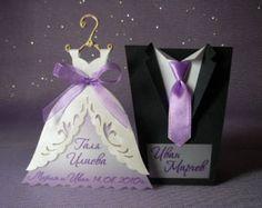 Tarjetas en forma de vestido de novia