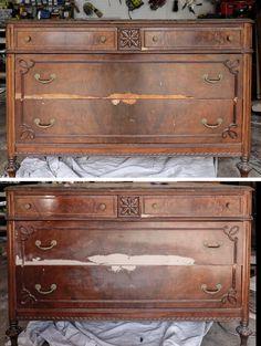 Painting Veneer Furniture, Refinish Wood Furniture, Diy Furniture Flip, Furniture Fix, Reclaimed Furniture, Furniture Makeover, Painted Furniture, Furniture Ideas, Vintage Dressers
