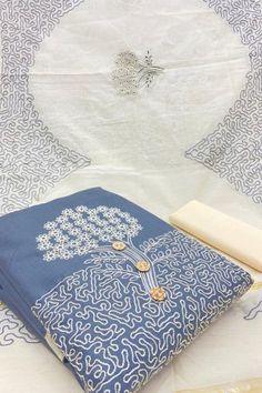 Sky Blue Cotton Embroidered Unstitched Straight Suit Latest Salwar Suits, Indian Salwar Suit, Salwar Kameez Online, Suit Shop, Pattern Design, Clothes For Women, Cotton, Stuff To Buy, Blue