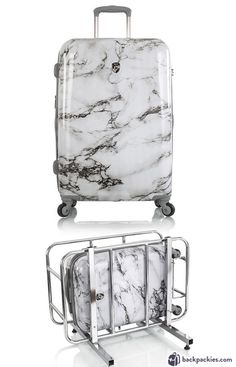 suitcase for teenage girl - marble suitcase