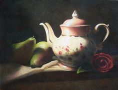 Cynthia Haase - Work Zoom: Vintage Teapot.   Colored Pencil