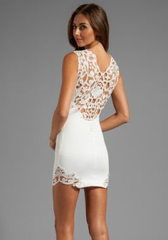 DRESS THE POPULATION Elizabeth Tank Dress with Crochet Detail in Ivory from REVOLVEclothing.com