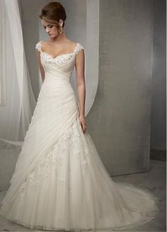 Cheap vestido de noiva, Buy Quality de noiva directly from China dress wedding gowns Suppliers: 2016 Vintage Wedding Dress Lace Cap Sleeve Beaded A Line Bridal Dresses Wedding Gowns Women Vestidos de Noivas Ivory Lace Wedding Dress, Best Wedding Dresses, Wedding Attire, Bridal Dresses, Wedding Gowns, Bridesmaid Dresses, Tulle Wedding, Elegant Wedding, Modest Wedding