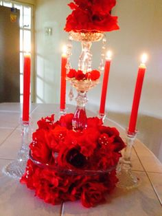 Beautiful  candle & floral red center piece!