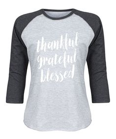 Athletic Heather & Black 'Thankful Grateful Blessed' Raglan Tee