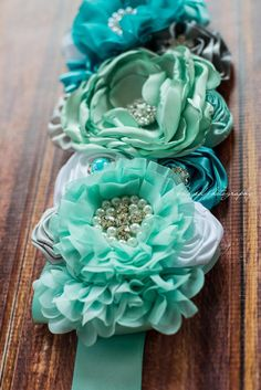 Aqua Mist Dream Maternity Sash Aqua Teal by LaBandeauxBowtique