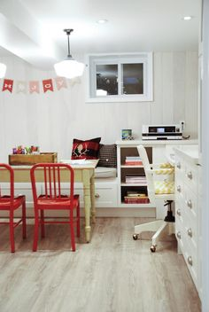 Seven Things That Make Me (Decor) Happy with Jen from Rambling Renovators - Basement craft/homework zone for the kids