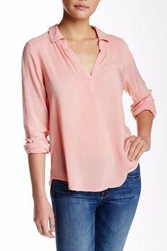 VELVET By Graham & Spencer Delores Collared Challis Popover Blouse Top Pink S #VelvetbyGrahamSpencer #Blouse #Casual