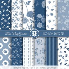 Blue Marine digitalem Papier, blau Floral Digital Paper Pack, Rosen-Scrapbooking - sofort-DOWNLOAD - 1987