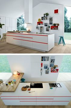 Lacquered #kitchen MY PLANET by Varenna by Poliform #red #white