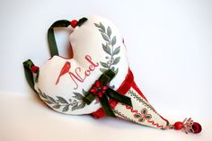 Christmas heart sachet, French Christmas pillow, balsam fir sachet, red and white, Noel pillow