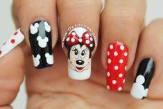 Disney Nail Designs, Nail Art Designs Videos, Cool Nail Designs, Mickey Mouse Nail Design, Mickey Mouse Nails, Long Square Acrylic Nails, Square Nails, Disneyland Nails, Disney Inspired Nails