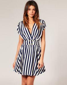 Motel Emilia Nautical Stripe Gold Button Dress, ASOS