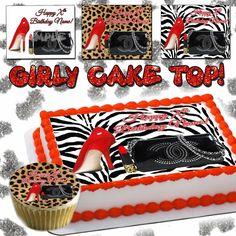 Purse Edible Cake topper birthday cheetah leopard skin Shoe print sugar paper #YUMMYPREMIUMFROSTINGSHEETS