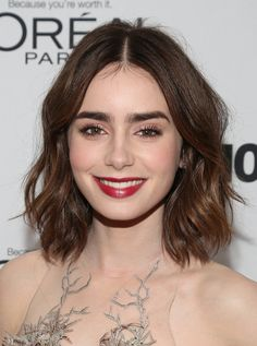 Lily Collins may be known for her brows, but her hair has been cut into a lob since early 2013.
