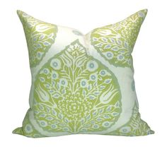 For white bedding/green scheme Galbraith & Paul Lotus pillow cover in Sprout by sparkmodern, $90.00