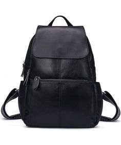 e7c2d049b1a3 Genuine Leather Backpack for Women Girls Fashion Travel Bag - Black -  CP18349W47M